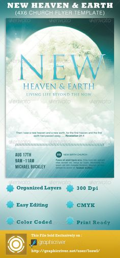 This New Heaven and Earth Church Flyer Template template can be used for your Sermons, Gospel Concerts, Youth programs, etc. - $6.00