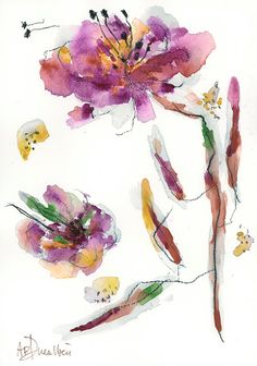 Original Watercolor Painting Abstract Flower Peony A4 by DUEALBERI
