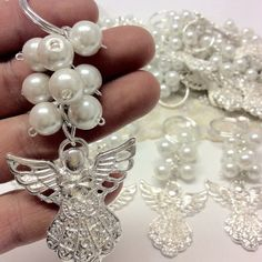 Items similar to Baptism Favor pcs keychain angel charm/Wedding favors/Baptism Favors/Communion favors/Recuerditos on Etsy Communion Favors, Baptism Favors, Jewelry Crafts, Jewelry Art, Ivory Pearl, Pearl White, Crystal Beads, Crystals, Clear Crystal