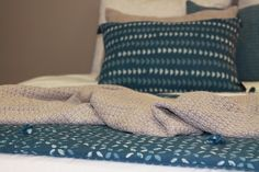 Linge de lit bleu azur