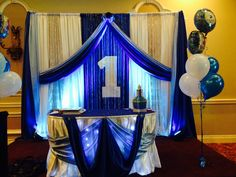 Royal blue and white for 1st birthday. Another decor by Fairytales Creations and Catering. Your event decor specialist in Brampton. www.fairytalescreationsandcatering.com