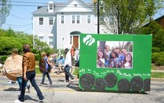 "Girl scout cookie box float, great idea, could have the girls inside with a ""window cutout""! Perfect for our St. Patrick's Day parade!!!!"