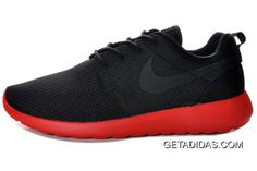 6095334a496e Mens Nike Roshe Run Mesh Black Red Shoes New Zealand TopDeals