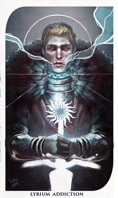"dashiana: "" I painted another Dragon Age: Inquisition tarot card - this time for Cullen's Lyrium Addiction which was an interesting theme/thing in the game. These cards have been a lot of fun to..."