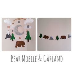 Your place to buy and sell all things handmade Cloud Nursery Decor, Clouds Nursery, Felt Banner, Felt Garland, Baby Crib Mobile, Baby Cribs, Woodland Mobile, Baby Swaddle Blankets, Mobile Bar