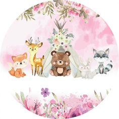 Jungle Animals, Woodland Animals, Cute Animals, Animal Nursery, Nursery Art, Android Wallpaper Anime, Baby Wall Decor, Kids Graphics, Cute Animal Illustration
