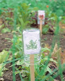 21 Mason Jar Ideas  Mason Jar Plant Makeover In my garden, the garden stakes always fade by the time I actually have to harvest anything ... so I can't tell what kind of pepper I've planted! This fun idea is both attractive, adding light and sparkle to the garden, and practical, protecting those garden stakes.