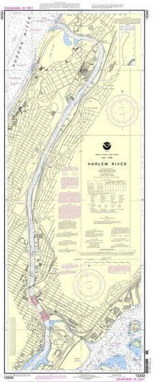 "NOAA Nautical Chart 12342: Harlem River is a standard navigation chart used by commercial and recreational mariners alike. Printed ""on-demand"" with water resistant paper, it contains all of the latest"