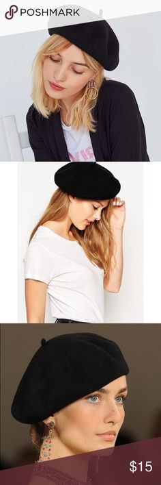Black Wool Beret Channel your inner French Girl with this wool beret. Complete with wool tab at center. In excellent condition. Accessories Hats
