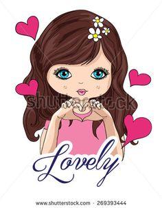 Beautiful romantic girl/cute girl/T-shirt Graphics/illustration princess girl/Vector Cute beautiful fashionable girl/design for children's books/happy and romantic girl graphic design/girl vector