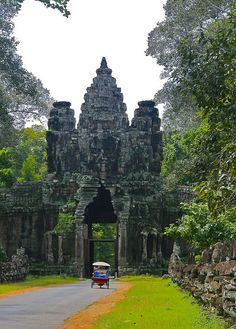 The gates of Angkor Thom, Cambodia.