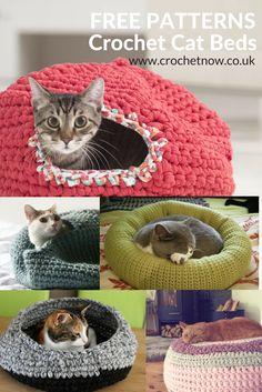 Crochet Cat Bed Patterns Niche Chat, Diy Crochet Cat Bed, Cat Cave Crochet Pattern, Crotchet Patterns Free, Diy Cat Bed, Crochet Crafts, Crochet Home, Free Crochet, Crochet Afghans