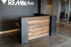 ls does not like blocky wood shop masculine look Stained pine and steel point of sale counter or reception desk.sales counter or reception desk. A reception counter or reception desk is perfect for any retail store or office. You can pair up this… Small Reception Desk, Reception Desk Design, Reception Counter, Office Reception, Salon Reception Area, Hotel Reception, Warehouse Gym, Church Lobby, Floating Shelves Kitchen
