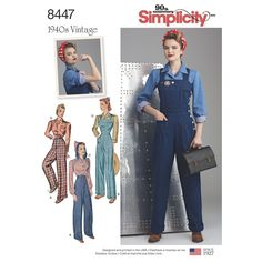 Recreate this 1940s Rosie the Riveter inspired sportswear for Misses with this pattern straight from our vintage vault. Pattern includes pants, overalls, blouse, and blouse with hood. Vintage Simplicity sewing pattern.