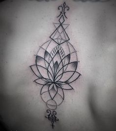 Beautiful lotus flower spine tattoo spiritual mantra chakra designs geometric