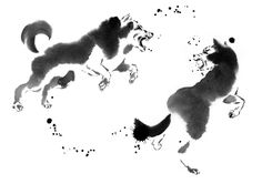 Sumi-e painting gallery with animals painted by Cyril Blondeau Sumi E Painting, Wolf Painting, Chinese Painting, Watercolor Paintings, Art Paintings, Japanese Wolf, All About Wolves, Painting Gallery, French Artists