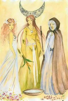 Wiccan Art, Wiccan Witch, Magick, Witchcraft, Maiden Mother Crone, Mother Goddess, Sacred Feminine, Goddess Art, Triple Goddess