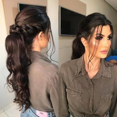 Wedding Hair Front, Wedding Hair And Makeup, Bridesmaid Hair, Prom Hair, Braided Hairstyles, Wedding Hairstyles, Girls Hairdos, Front Hair Styles, Ponytail Styles