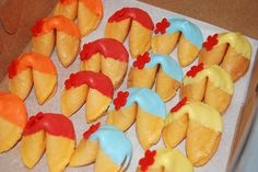 chocolate dipped fortune cookies for a Ni Hao Kai Lan party by Simply Sweets, via Flickr