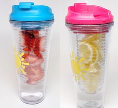 $13.99  Double wall, 20 oz tumbler, aqua or fuchsia  Matching straw, screw-on lid  Clear infuser for hot or cold beverages  BPA-free  Material: Acrylic