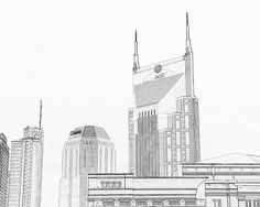 Nashville Skyline Sketch Batman Building