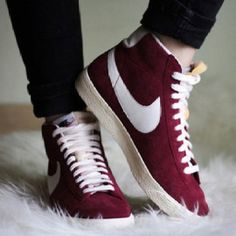 Red/burgundy Nike Blazers