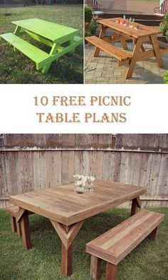 10 Free Picnic Table Plans The table is one of the most important element of the garden. Without table, daily rest or barbeque meetings would not be so comfortable. Round Picnic Table, Diy Picnic Table, Wooden Picnic Tables, Outdoor Picnic Tables, Diy Table, Kids Picnic Table Plans, Outdoor Table Plans, Patio Tables, Backyard Picnic