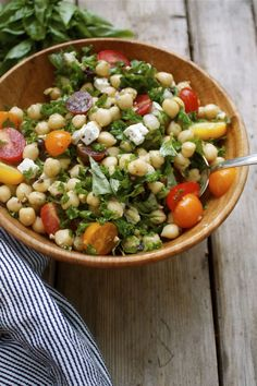 Recipe: Summer Chickpea Kale Salad with Feta, Olives & Basil | In Pursuit of More