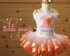 Georgia Peach Birthday Tutu Collection- Inlcudes top, ribbon tutu and hairbow- Can be made with different colors to match party theme
