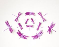 Purple dragonfly wall art // Paper dragonflies by hipandclavicle on Etsy