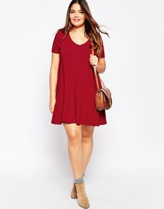Image 4 of ASOS CURVE Button Front Swing Dress