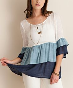Look at this Light Blue Tiered Bell-Sleeve Top on #zulily today!