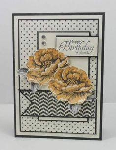 Narelle Farrugia: Stampilicous - 9-18-13.. SU stamos: Stippled Blossoms, Simply Sketched. SU Paper: Basic Black cs, Whisper White cs, Modern Medley DSP. SU Ink: Basic Gray, Peach Parfait. Challenge-Freshly Made Sketches #104.