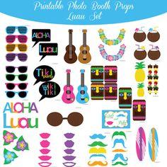 $5.00 Buy Now! Luau Hawaiian Hawaii Printable Photo Booth Prop Set at www.amandakeyt.com Enjoy Life! Buy the app!