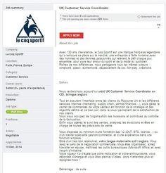 Le Coq Sportif is hiring a UK Customer Service Coordinator