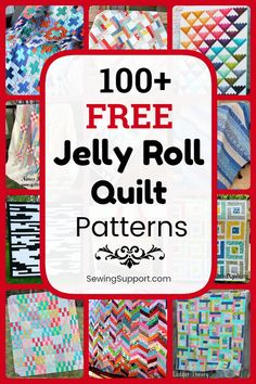 Free Quilt Patterns for Jelly Roll Quilts. Free Jelly Roll quilt patterns, sewing tutorials, and diy projects great for use with jelly roll fabric strips. Many simple designs easy enough for beginners to sew. Strip Quilt Patterns, Jelly Roll Quilt Patterns, Strip Quilts, Easy Quilts, Quilt Blocks, Quilting Tips, Quilting Projects, Quilting Designs, Diy Projects