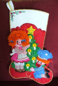 BUCILLA CHRISTMAS STOCKING-RAGGEDY ANN & ANDY-COMPLETELY FINISHED-LINED