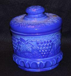 Fenton Blue Slag Grape & Cable Tobacco Jar Fenton Glassware, Opaline, Carnival Glass, Mercury Glass, Antique Glass, Milk Glass, Glass Art, Cable, Jar