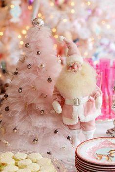 vintage pink tulle net Christmas tree, pink clad Santa, pink reindeer plates www.jenniferhayslip.com/christmas-home-glamour-style/ <> (Christmas, retro, decor)