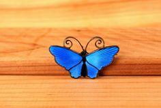 Vintage Sterling Silver David Andersen Enameled Butterfly Electric Blue Norway