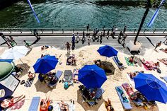 The banks of the Seine are transformed into a beach in the summer. http://www.nyhabitat.com/blog/2015/05/04/top-10-things-kids-during-summer-paris/