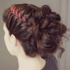 Another French braid updo. Results:  this came out really cute (even without a pink streak!), and was a great way to hide some pretty dirty hair.