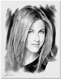 Portrait of Jennifer Aniston by shahin on Stars Portraits, the biggest online gallery for celebrity portraits. Pencil Portrait Drawing, Portrait Sketches, Pencil Art Drawings, Art Drawings Sketches, Portrait Art, Drawing Art, Portrait Photography, Celebrity Drawings, Celebrity Portraits