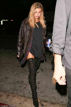 Hailey Baldwin wearing Stella Luna 19 Over-the-Knee Boots, Marques'Almeida Oversized Nappa Leather Biker Jacket and RTA Genevieve Plaid Shirt Dress