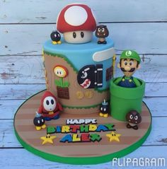 "narroz on Instagram: ""It's-a me Luigi! My favorite Super NES game in cake form! This was such a fun cake to work on! #cake #videogames #gamers #supernes #shyguy #goomba #bulletbill #bobomb #supermariobros #supermarioworld #nintendo #supernintendo #bestgameever #luigi #fondant #flipagram made with @flipagram"""
