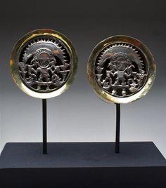 A Pair of Sican Royal Gold Ear Spools, Peru 800 CE