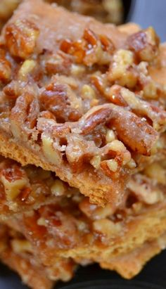 PECAN PIE BARK: 2 sticks butter, 1 cup sugar, 1 & 1/4 cup pecans, 2 pkgs (approx. 12 sheets) graham crackers. Heat oven to 325. Lay graham crackers tightly across the area of greased baking sheet. Trim to fit the sides of the pan. In saucepan, bring the butter, sugar and pecans to a boil over medium for 3 minutes, stirring constantly. Pour mixture over graham crackers, spreading pecans evenly. Immediately pop in oven for 8 minutes. Allow to cool, break into pieces and store airtight.