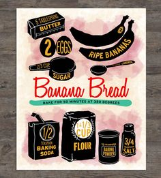 Graphic Design - Graphic Design Ideas  - Banana Bread Recipe Art Print by Drunk Girl Designs on Scoutmob   Graphic Design Ideas :     – Picture :     – Description  Banana Bread Recipe Art Print by Drunk Girl Designs on Scoutmob  -Read More –