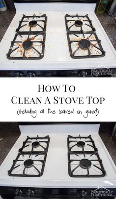 How To Really Clean A Stove Top - looks brand new again with just two common household ingredients, even the cooked on gunk comes off!