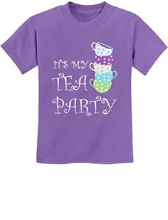 Birthday Gift Idea for Girls - Cute Birthday Tea Party Youth Kids T-Shirt Small Violet *** Check this awesome product by going to the link at the image.